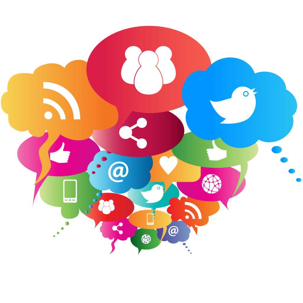 Social media symbols in speech balloons.