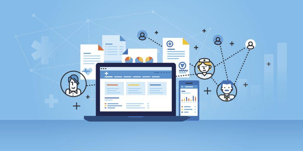 Flat line design of a medical website banner of health plan management solutions.