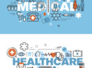 Set of modern vector illustration concepts of words medical and healthcare representing healthcare marketing.